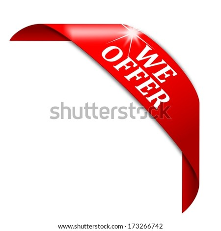 Red corner with white lettering offer - illustration