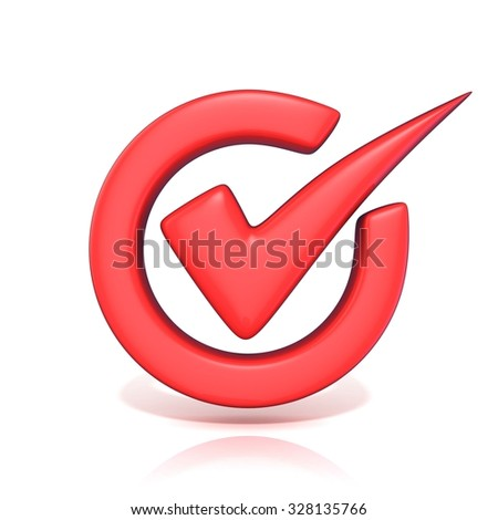 Red correct check mark in circle. 3D render illustration isolated on white background - stock photo