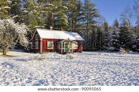 Red cottage in a wintry landscape
