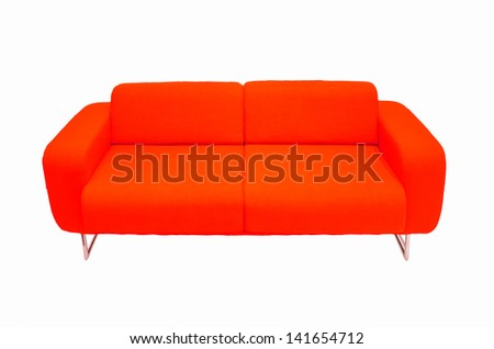 red couch isolated - stock photo
