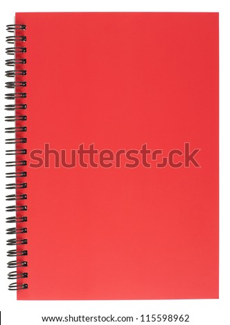 Red Covered Spiral Bound Notepad Isolated on White - stock photo
