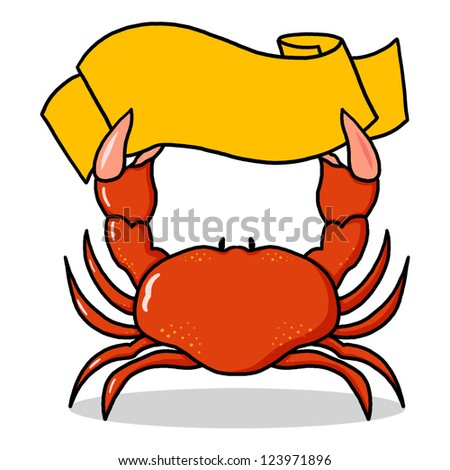 Red Crab Holding a sign Illustration; Crab holding yellow banner drawing - stock photo