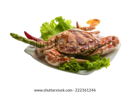 Red crab isolated on white
