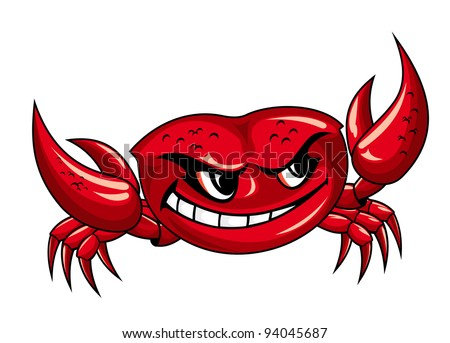 Red crab with claws for mascot design. Vector version also available in gallery