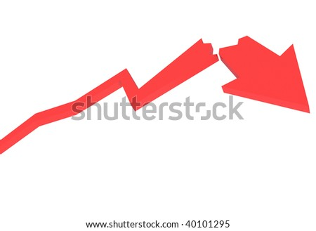 red crash diagram a white background - stock photo
