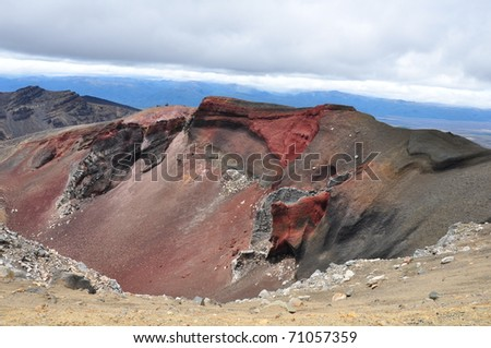 red crater on volcano Ngauruhoe, New Zealand - stock photo