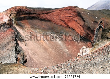 Red crater, Tongariro national park, New Zealand - stock photo