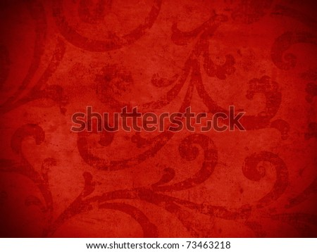 Red crispy oriental style decor for elegant backgrounds. More of this motif & more ornaments in my port. - stock photo