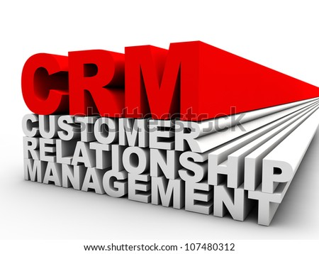 red CRM Customer Relationship Management over white background - stock photo
