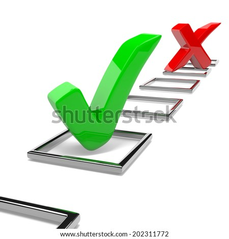 Red Cross and Green Tick Mark on White Background 3D Illustration Quiz Concept - stock photo
