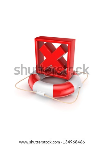 Red cross mark on lifebuoy.Isolated on white background.3d rendered. - stock photo