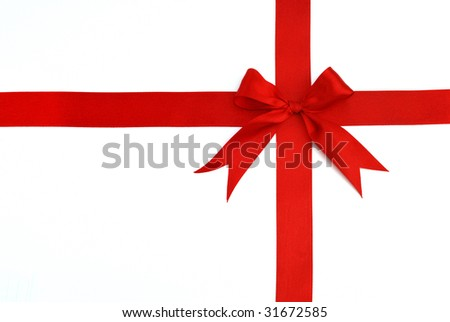 red cross ribbon and bow isolated on white background
