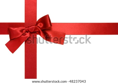 red cross ribbon with bow isolated on white