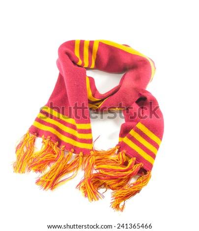 red cross yellow line  silk scarf - stock photo