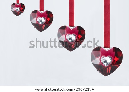Red crystal hearts - stock photo