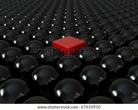 Red cube among black spheres, standing out in the crowd concept - stock photo