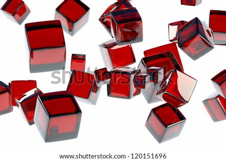 red cube front view of a light background - stock photo