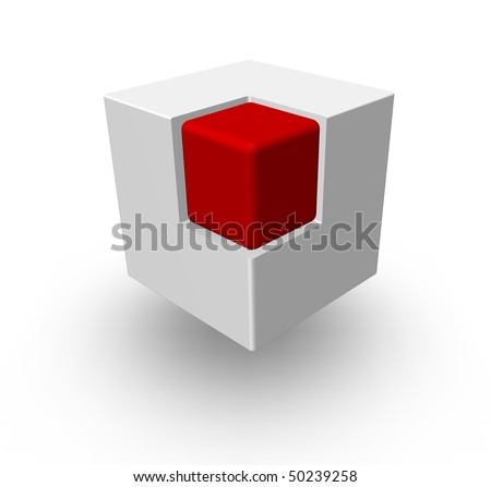 red cube in another white cube - 3d illustration - stock photo