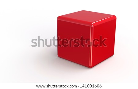 red cube in 3d isolated on white - stock photo