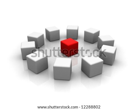 red cube in the middle