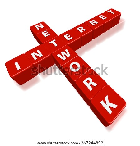 Red cube puzzle of internet and network on white background.