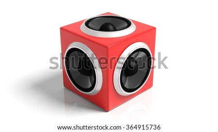 Red cube speaker, isolated on white background. - stock photo