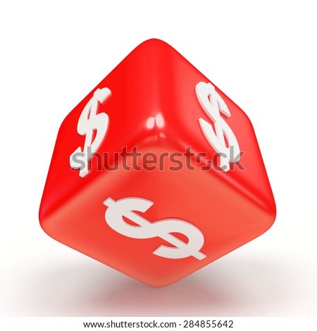 Red cube with dollar sign isolated on white background - stock photo