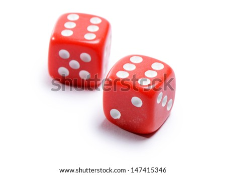 Red cubes for poker isolated on white - stock photo