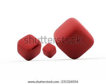 Red cubes icon concept rendered on white background isolated  - stock photo