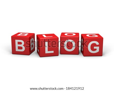 Red cubes with blog sign on a white background  - stock photo