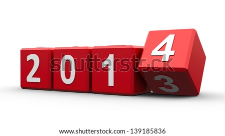 Red cubes with 2013-2014 change on a white table represents the new 2014, three-dimensional rendering - stock photo
