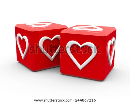 Red cubes with hearts on a white table, represented love and valentine's day, three-dimensional rendering - stock photo