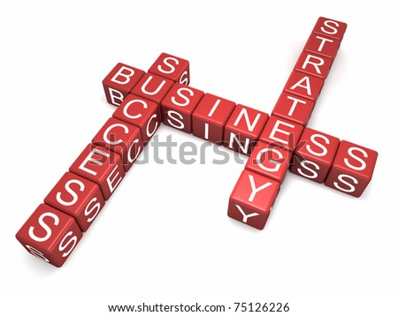 Red cubes with letters arranged in three words - business strategy and success, white background, 3d render