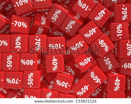 Red cubes with percent.  Discount concept. - stock photo