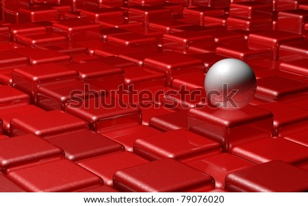 Red Cubes With White Sphere - stock photo