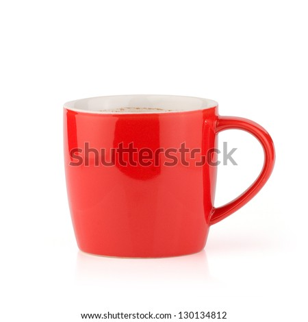Red cup from coffee on a white background