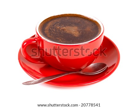 Red cup of coffe isolated on white - stock photo