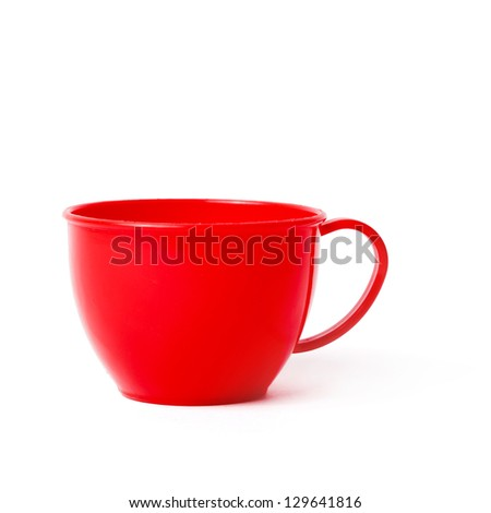 red cup toy isolated on white
