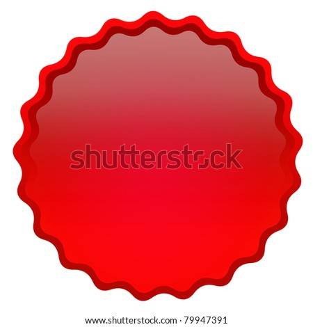 Red curly glossy icon - stock photo