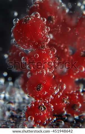 red currant berries in soda water with bubbles close up on dark background