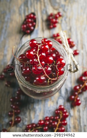 Red currant in the jar - stock photo