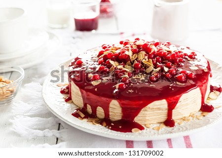 Red Currant Layer Cake - stock photo