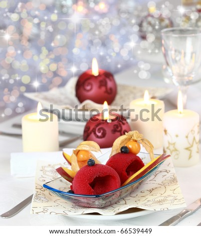 Red currant sorbet or ice cream for Christmas - stock photo