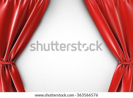 red curtain at white background, 3d render - stock photo