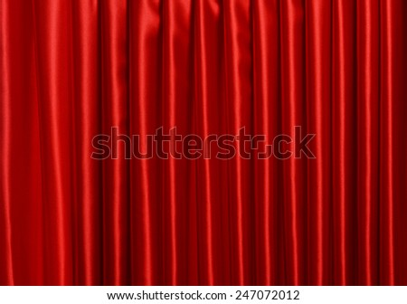 Red Curtain close-up - stock photo