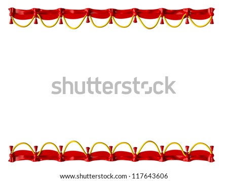 Red curtain frame and yellow ropes, isolated on white background. - stock photo