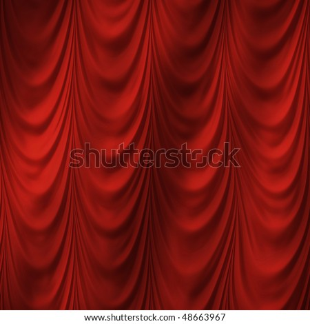 Red curtain, high resolution pattern - stock photo