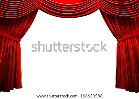 Red curtain  in a theater, ad concept with empty space - stock photo