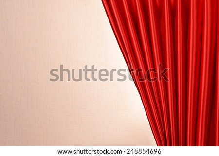 Red Curtain on wall background - stock photo