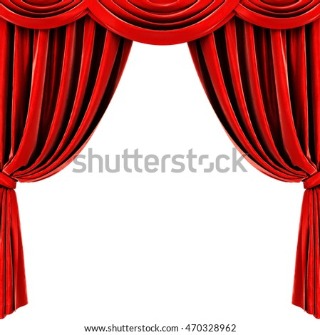 Red curtain on white background. 3D rendering